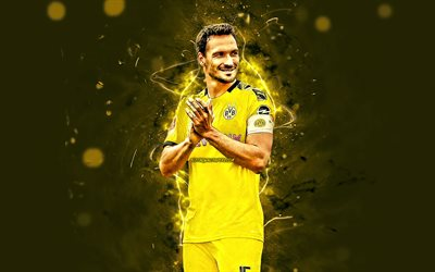 Mats Hummels, 2019, german footballers, Borussia Dortmund FC, defender, soccer, BVB, Germany, Bundesliga, Mats Julian Hummels, football, neon lights