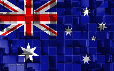 Flag of Australia, 3d flag, 3d cubes texture, Flags of Oceania countries, 3d art, Australia, Oceania, 3d texture, Australia flag