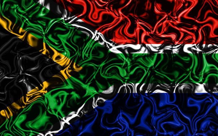 Download Wallpapers 4k Flag Of South Africa Abstract Smoke