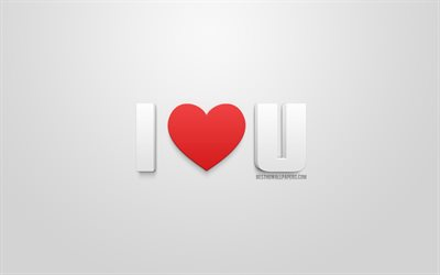 I love you, 3d art, I love U, white background, love concepts, romance, 3d red heart