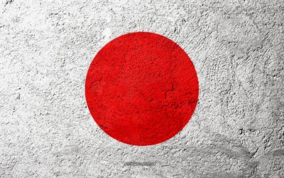 Flag of Japan, concrete texture, stone background, Japan flag, Asia, Japan, flags on stone, Japanese flag