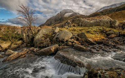 Snowdonia National Park, Mountain river, autumn, waterfall, Wales, Snowdonia, UK