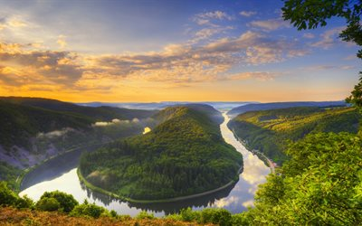 Saarschleife, 4k, sunset, Saar river forest, bend, Germany