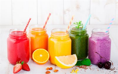 Fruit smoothies, different smoothies, healthy food, drinks, smoothies