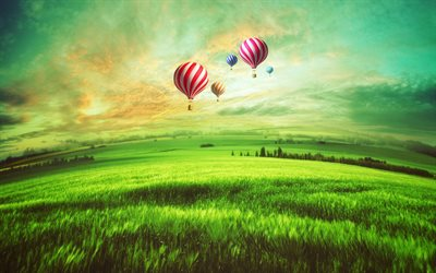 air balloons, meadow, sunset, beautiful landscape