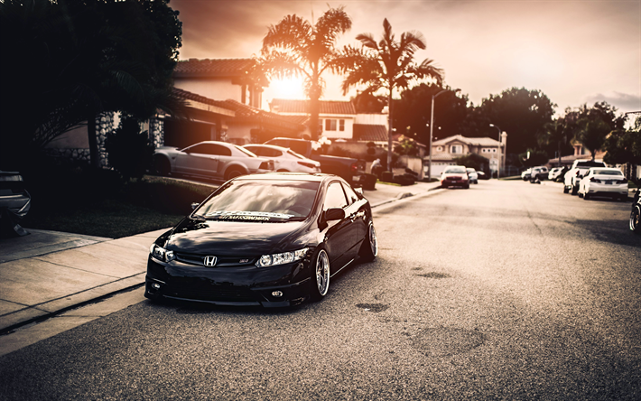 Download Wallpapers 4k Honda Civic Si Tuning Stance Street