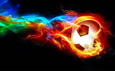 4k, football, soccer, fire, art, ball