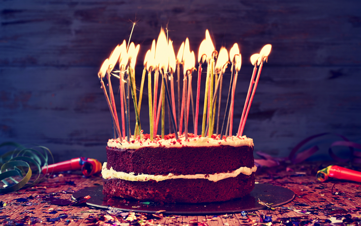 Download Wallpapers Happy Birthday 4k Candles Birthday