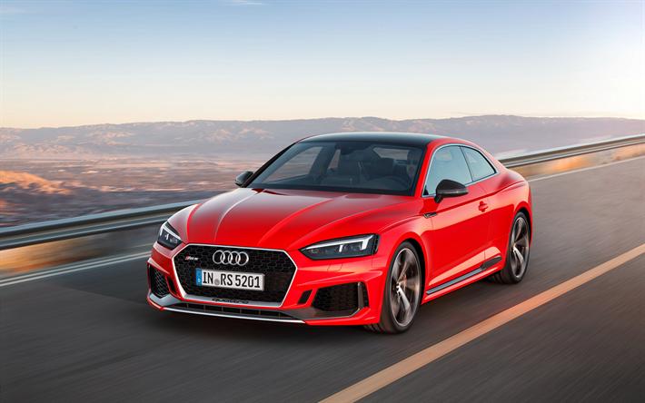 скачать обои Audi Rs5 Coupe 2018 Red Rs5 Road Speed German Cars