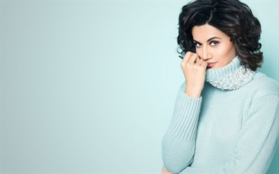 Taapsee Pannu, 4k, portrait, Indian actress, Bollywood, Indian fashion model, blue sweater