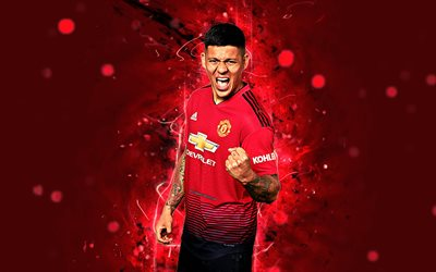 Marcos Rojo, 4k, season 2018-2019, footballers, Manchester United, neon lights, Premier League, Rojo, soccer, fan art, football, Man United