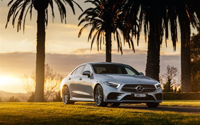 Mercedes-Benz CLS AMG, 2018, 4k, sports sedan, new silver CLS, front view, sunset, 4MATIC, AMG-Line, Mercedes