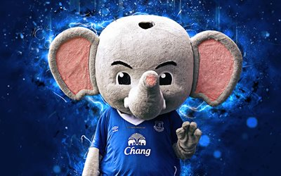 Chang the Elephant, 4k, mascot, Everton, abstract art, Premier League, Changy, creative, official mascot, neon lights, Everton FC mascot