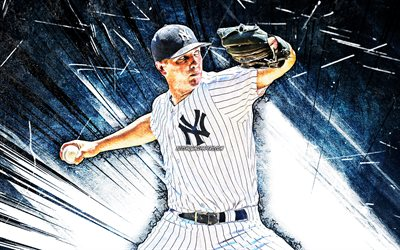 4k, Chad Green, grunge art, MLB, New York Yankees, pitcher, baseball, Greeny, Chad Keith Green, Major League Baseball, blue abstract rays, Chad Green New York Yankees, Chad Green 4K, NY Yankees