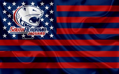 South Alabama Jaguars, American football team, creative American flag, blue red flag, NCAA, Mobile, Alabama, USA, South Alabama Jaguars logo, emblem, silk flag, American football