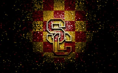 USC Trojans, glitter logo, NCAA, red yellow checkered background, USA, american football team, USC Trojans logo, mosaic art, american football, America