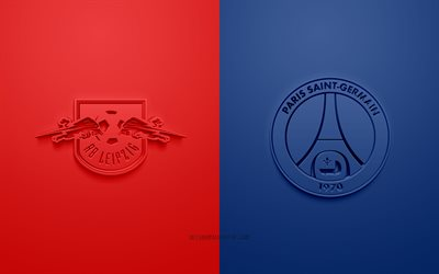 RB Leipzig vs Paris Saint-Germain, UEFA Champions League, 3D logos, promotional materials, red background, Champions League, RB Leipzig vs PSG, football match, Paris Saint-Germain, RB Leipzig