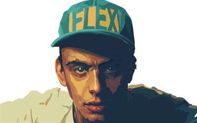 4k, Logic, minimalism, american rapper, music stars, artwork, fan art, Sir Robert Bryson Hall II, american celebrity, 3D art, Logic 4K