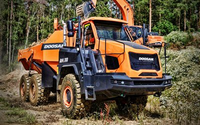 Doosan DA30-7, 4k, dump truck, construction vehicles, 2020 trucks, HDR, special equipment, LKW, Doosan