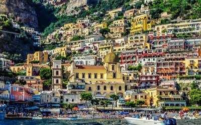 Positano, buildings, panorams, beach, Amalfi, Italy