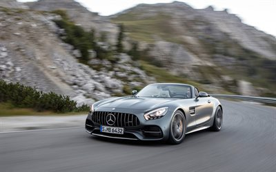 Mercedes-AMG GT C Roadster, 2017, silver Mercedes, racing, road, speed, Mercedes