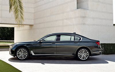 BMW 7, 2017, G12, side view, business class, new cars, German cars, BMW