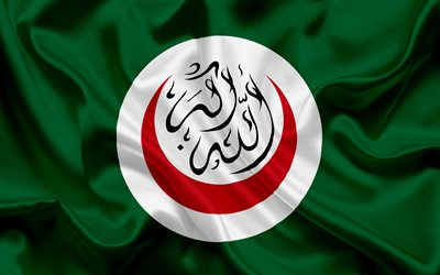 Flag of OIC, Organisation of Islamic Cooperation, organization of Africa, green silk flag, OIC emblem