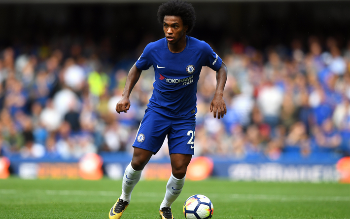 Download Wallpapers Willian, 4k, Footballers, Chelsea FC