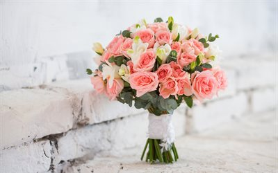 wedding bouquet, pink roses, bridal bouquet, roses, white bricks, wedding concepts