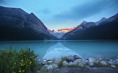 Lake Louise, morning, Banff, summer, Alberta, canadian landmarks, Banff National Park, Canada