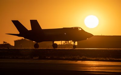 Lockheed Martin F-35 Lightning II, military plane, F-35A, american fighter bomber, airfield, US Air Force, combat aircraft, USA
