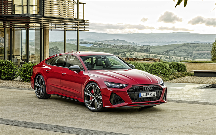 Download Wallpapers Audi Rs7 Sportback 2020 4k Front View Red Sports Coupe New Red Rs7 Sportback Exterior German Cars Audi For Desktop Free Pictures For Desktop Free