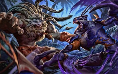 khazix vs rengar, kampf, moba, league of legends, monster, rengar, khazix, league of legends zeichen