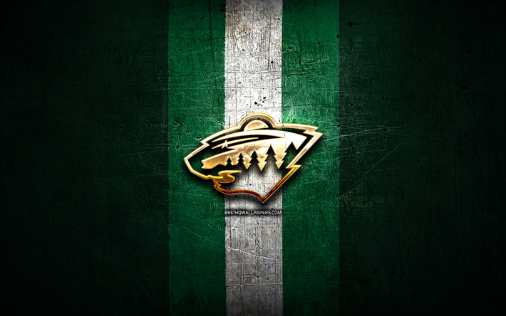 Minnesota Wild, golden logo, NHL, green metal background, american hockey team, National Hockey League, Minnesota Wild logo, hockey, USA