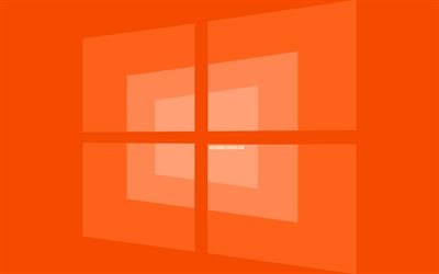 4k, Windows 10 orange logo, minimal, OS, orange background, creative, brands, Windows 10 logo, artwork, Windows 10