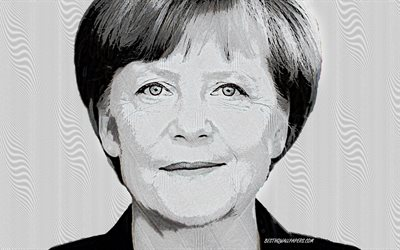 Angela Merkel, portrait, Chancellor of Germany, creative art, german leader, German politician