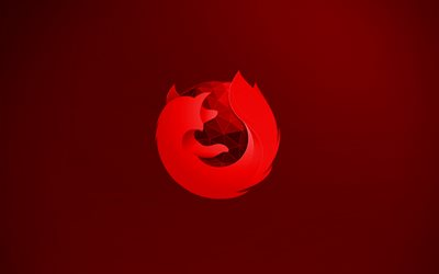 Mozilla Firefox red logo, 4k, creative, red background, Mozilla Firefox 3D logo, Mozilla Firefox logo, artwork, Mozilla Firefox