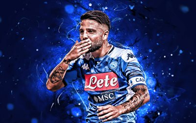 Lorenzo Insigne, 2019, SSC Napoli, italian footballers, Serie A, goal, Insigne, Italy, football, neon lights, Napoli FC