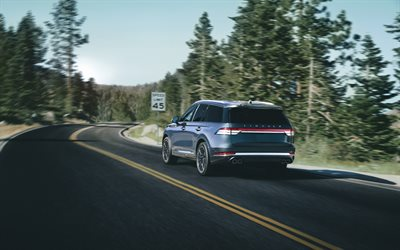 Lincoln Aviator, 2020, rear view, exterior, luxury SUV, new blue Aviator, american cars, Lincoln