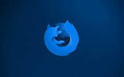 Mozilla Firefox blue logo, 4k, creative, blue background, Mozilla Firefox 3D logo, Mozilla Firefox logo, artwork, Mozilla Firefox