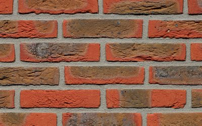 brown brickwall, close-up, brown bricks, bricks textures, brown brick wall, bricks, wall, macro, identical bricks, brown bricks background