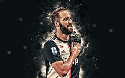4k, Gonzalo Higuain, 2019, Bianconeri, new uniform, Juventus FC, football stars, argentinian footballers, Gonzalo Gerardo Higuain, soccer, neon lights, Serie A, Italy, Juve