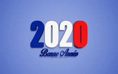 Bonne Annee 2020, Happy New Year in French, Flag of France, 3d art, 2020 3d background, 2020, Happy New Year