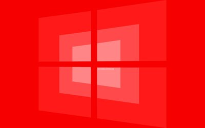 4k, Windows 10 red logo, minimal, OS, red background, creative, brands, Windows 10 logo, artwork, Windows 10