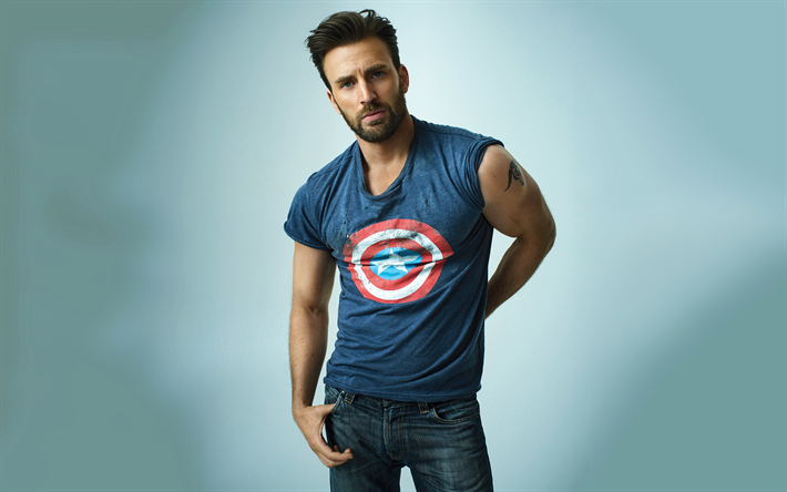 Chris Evans, American actor, photoshoot, Captain America sign, portrait, hollywood star