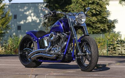 Harley-Davidson Softail, Thunderbike Compact, luxury blue motorcycle, exterior, motorcycle tuning, american motorcycles, Harley-Davidson