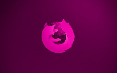 Mozilla Firefox purple logo, 4k, creative, purple background, Mozilla Firefox 3D logo, Mozilla Firefox logo, artwork, Mozilla Firefox