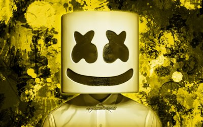DJ Marshmello, yellow paint splashes, superstars, Christopher Comstock, american DJ, music stars, Marshmello, yellow grunge background, DJs