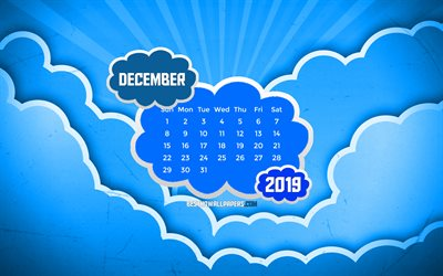 December 2019 Calendar, 4k, blue clouds, winter, 2019 calendar, December 2019, creative, abstract clouds, December 2019 calendar with clouds, Calendar December 2019, blue background, 2019 calendars