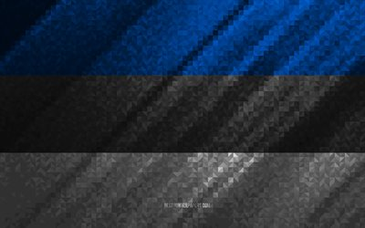 Flag of Estonia, multicolored abstraction, Estonia mosaic flag, Europe, Estonia, mosaic art, Estonia flag